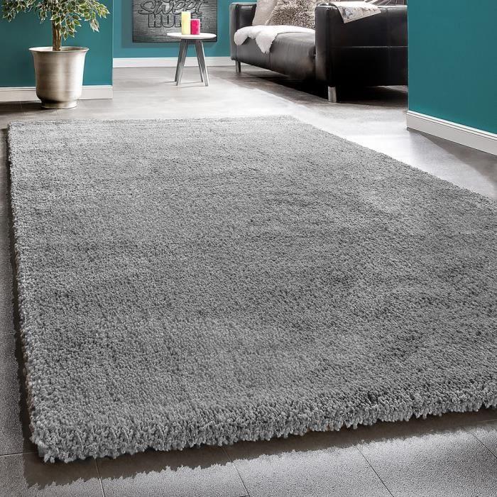 tapis shaggy gris longue meches achat vente pas cher. Black Bedroom Furniture Sets. Home Design Ideas
