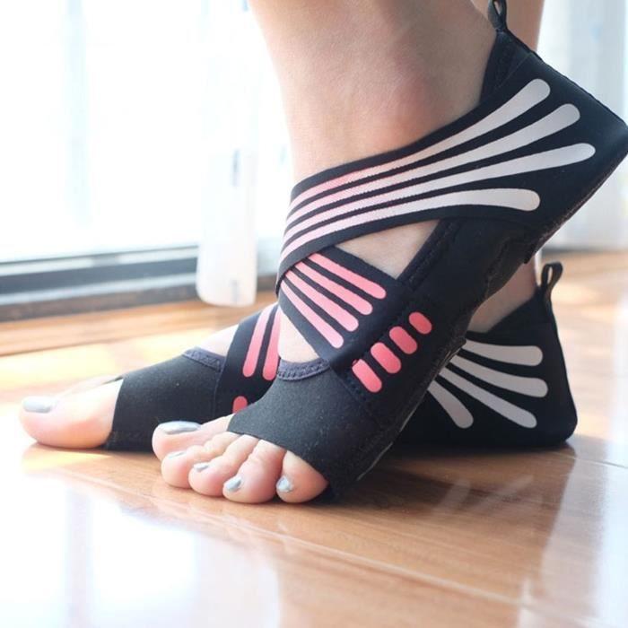 1 paire de chaussettes de yoga anti-dérapant sans Pilates Ballet Yoga Barre chaussures  pour femmes 00c0b03b3bf