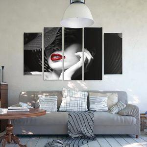 tableau deco levres rouge achat vente pas cher. Black Bedroom Furniture Sets. Home Design Ideas