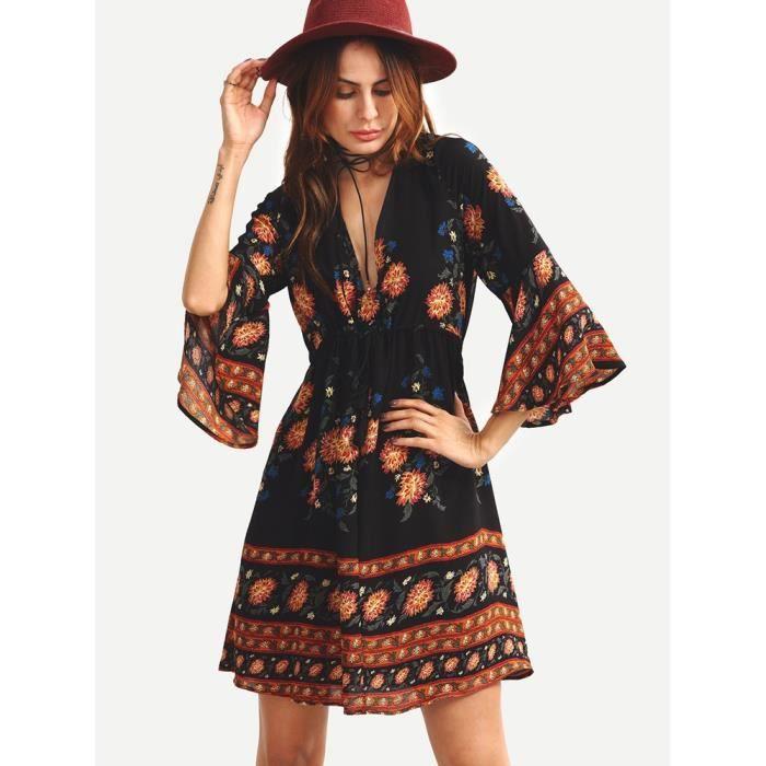 kingwing® V cou Vintage floral mousseline robe partie robe de plage