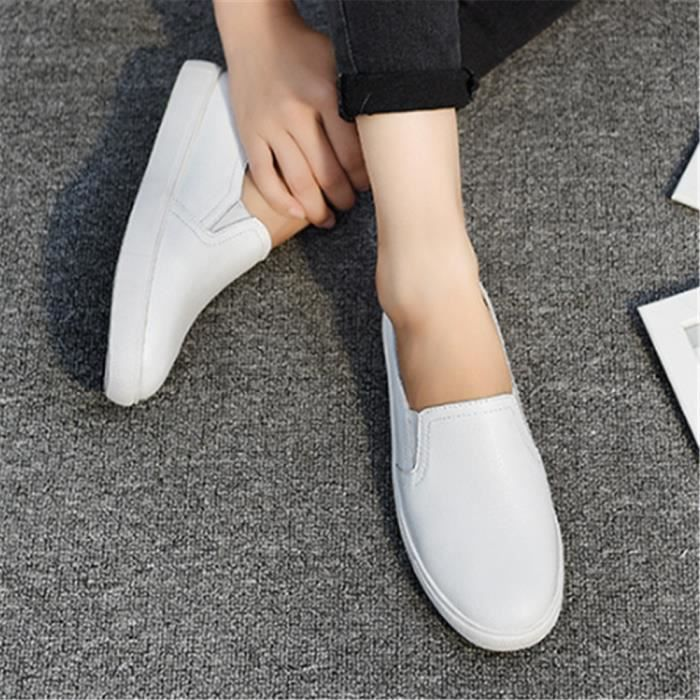 Chaussures Femmes ete Loafer Ultra Leger Chaussures DTG-XZ052Blanc38