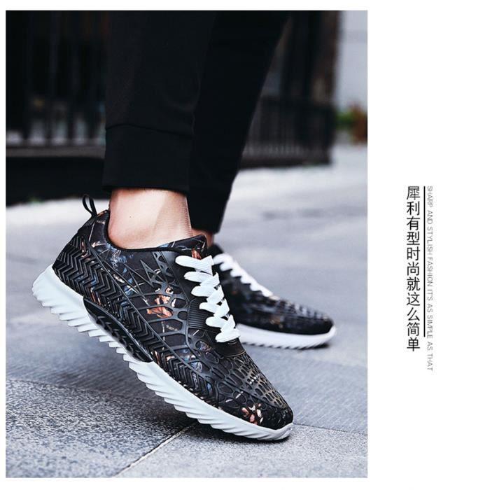 Chaussure Basket Hommes,nouvelles chaussures de sport, maille de camouflage, chaussures occasionnelles, respirante, fraîche(Noir)