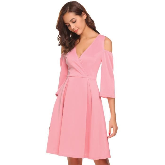 Femmes robe épaule froide manches 3-4 V-cou fit et flare party