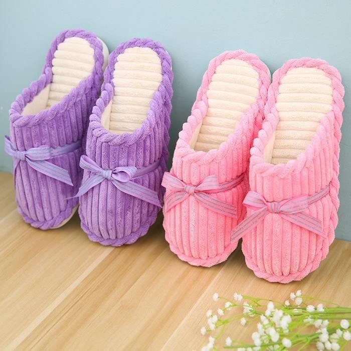 New Femmes Chaussures Pantoufles Printemps Automne chaud Corduroy Chaussons Mode antidérapants Noeud papillon souple Chaussons drIfg