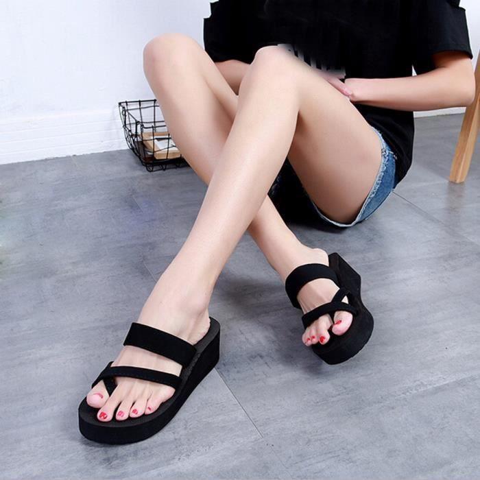 Femmes Tongs Casual Shoes Pantoufles D'été Noir Toe Open Plates Sandales Beach Ouvert rT6gr5qwx