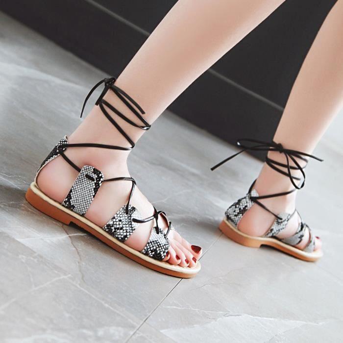 Summer Femmes Sandales Chaussures Cross pieds Toe À Plates Blanc Lacets Cheville Nu Beach pzw4zfq0r