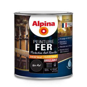 PEINTURE - VERNIS Peinture Fer Alpina 0.5L - Couleur:Noir mat