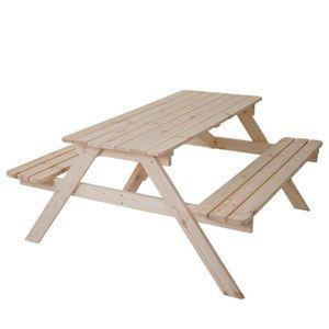 TABLE DE JARDIN  TABLE DE PIQUE-NIQUE 6 PLACES NIKLAS - BOIS NATURE