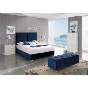 STRUCTURE DE LIT Lit KINLEY 140x190-200cm en velours bleu marine -