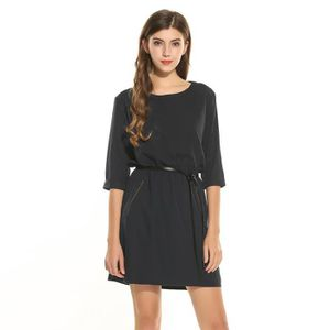 ROBE Robe Femmes robe tunique manches 3/4 solide O cou