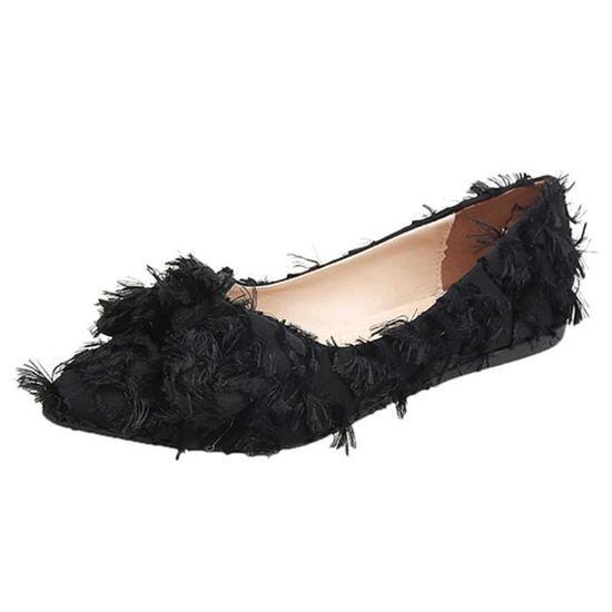lowest price ea557 09198 Les femmes peu profonde bowknot Ponited Toe Flat Low Slip talon Chaussures  Chaussures simples Noir Noir