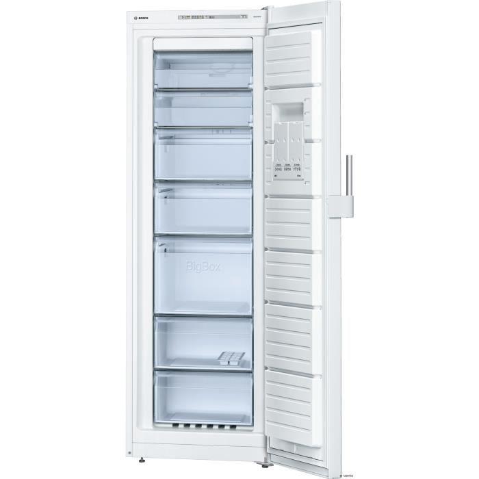 BOSCH GSN33CW32 - Congélateur armoire - 220 L - Froid ventilé no frost - A++ - L 60 x H 176 cm - Bla