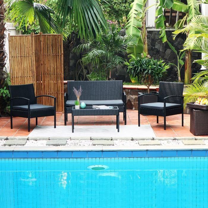 Salon de jardin en résine tressée 4 personnes safi noir et coussins gris