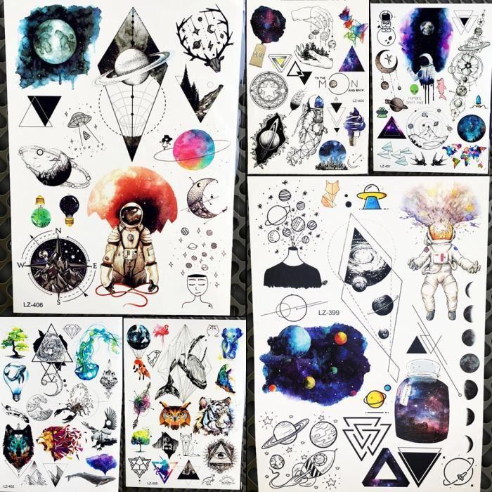 6 Morceaux Galaxie Planete Temporaire Tatouage Hommes Corps Poitrine
