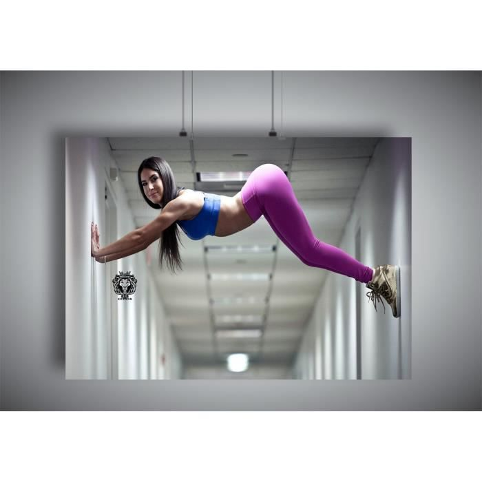 Fille Fitness Photo poster fille sexy gym fitness strech leggings musculation ass a4