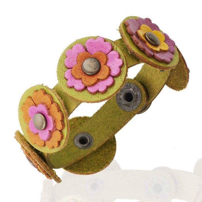 Womens 24mm Wide Leather Multi-colored Flower Cuff Bracelet, Jewelry For ,VTIMK