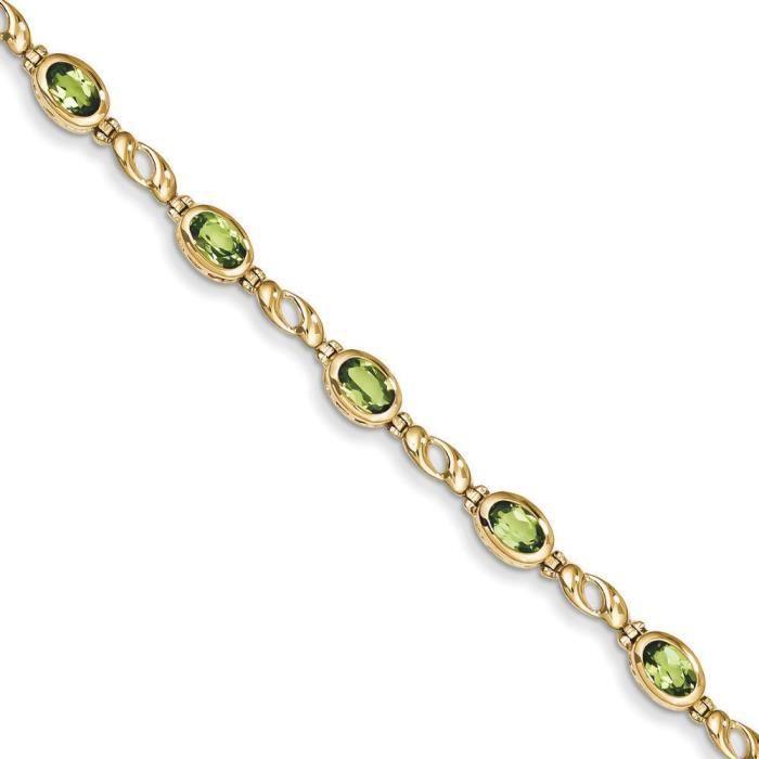 14 carats-Péridot Bracelet 7 - 6 mm-Fermoir