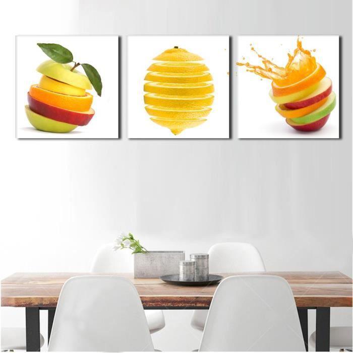 3 Pièces Cuisine Mur Photos Fruits Peinture Vert Apple Et Oranges Coupes  Salle à Manger Décoration Image(pas étiré Pas Encadré)