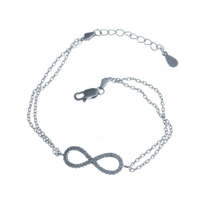 Bracelet argent infini zircons - 17+3 cm Argent