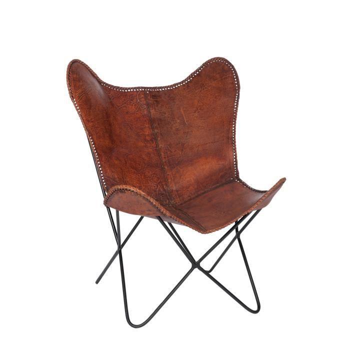 Jolipa chaise lounge cuir 68x70x93 cm marron achat vente fauteuil soldes d s le 27 juin for Chaise 70 cm