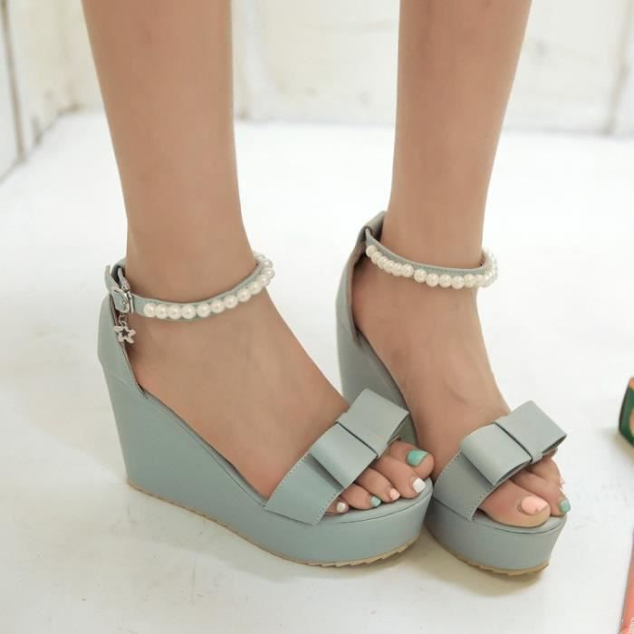 talons hauts-Pure Color High Heel Wedge Heel fe...