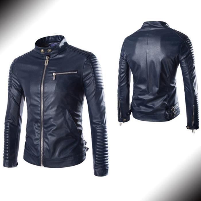veste de moto pu cuir homme noir marque blouson bleu marine achat vente blouson cdiscount. Black Bedroom Furniture Sets. Home Design Ideas