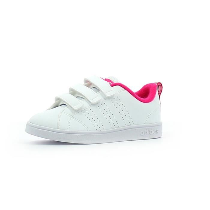 low priced bf81d a1f89 ADIDAS Chassures enfant Advantage Clean VLC - Blanc  Rose
