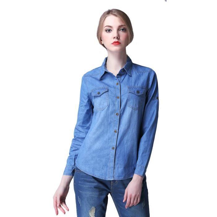 EOZY Chemise en Jean Manches Longues Femme Bleu.