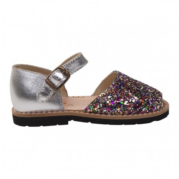 Sandales enfant argent à paillettes multicolores - Multicolore - 26