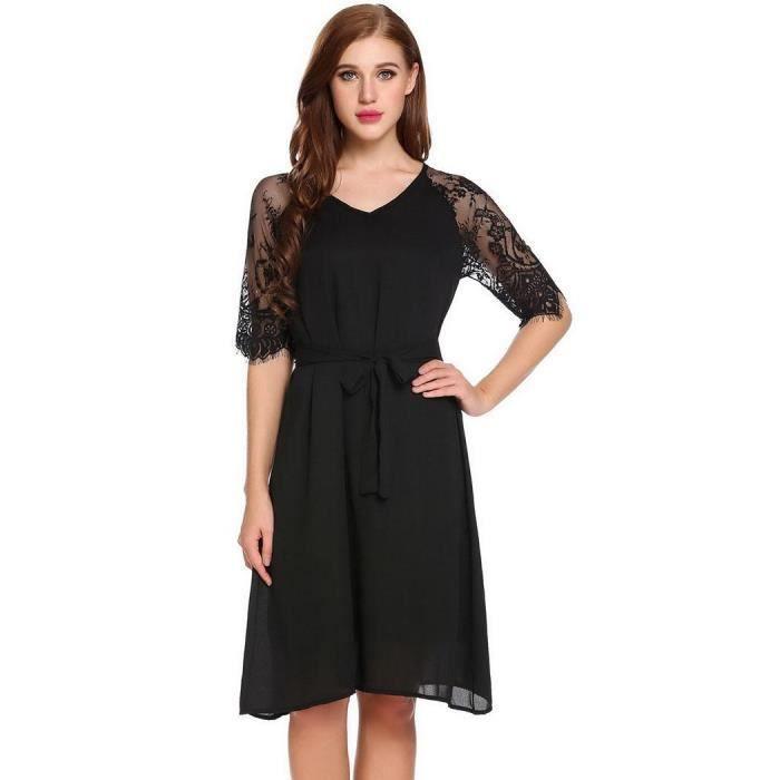 Femmes robe plissée dentelle Casual v-cou demi manchon Patchwork