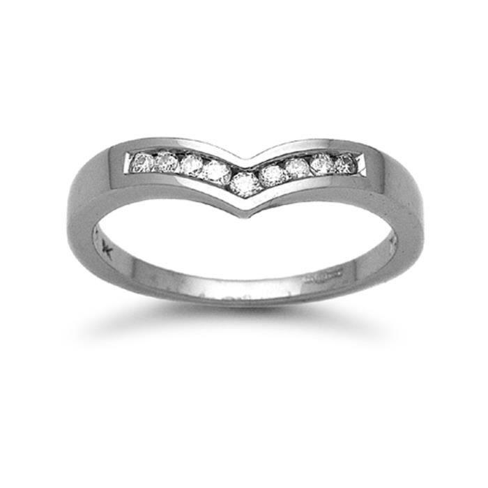 Jewelco London sans-conflit Femmes Solide Or Blanc 9k Réglage Canal Rond Brillant J I1 Diamant Wishbone Éternité Bague