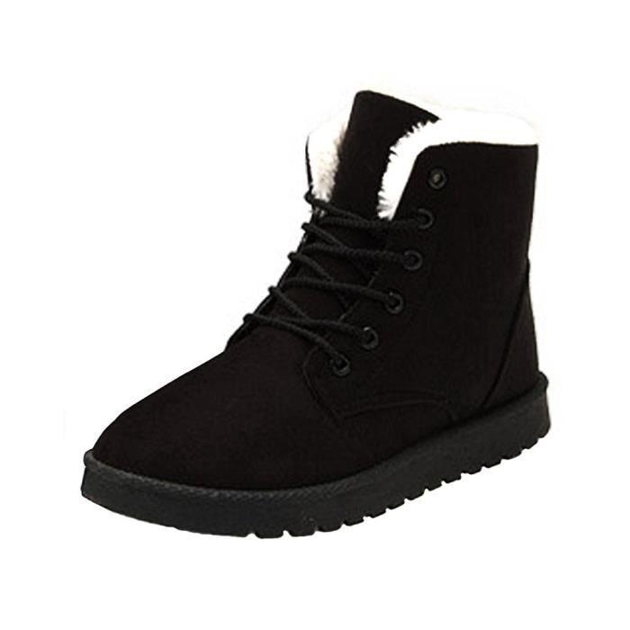 Napoulen®Femmes bottes de lacet-up hiver chaud mode populaire Loisirs Noir-XXL70830495BK WfQZj