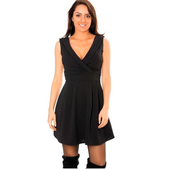 Miss Wear Line - Robe patineuse noire avec col à revers à lavant