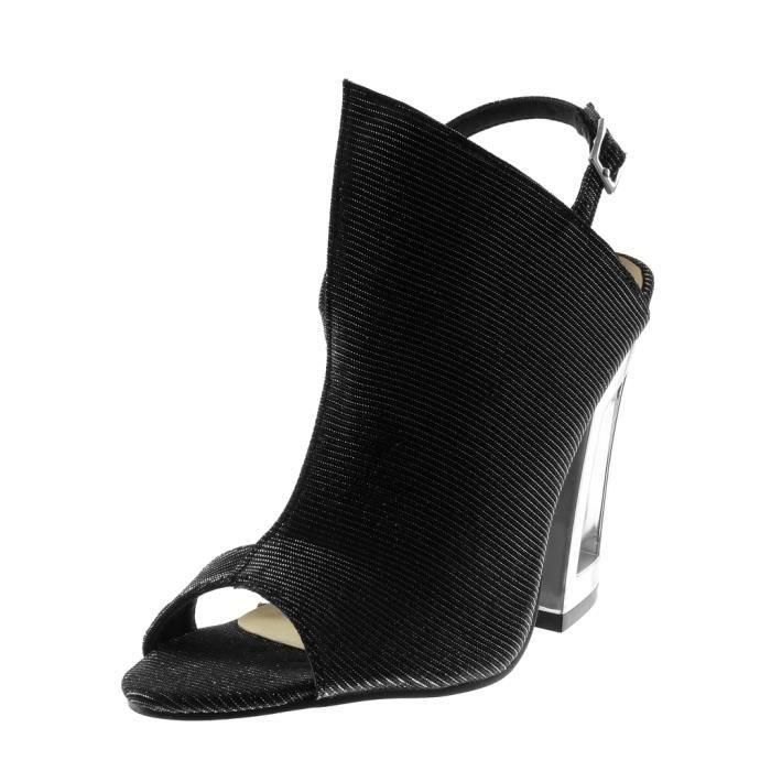 Angkorly - Chaussure Mode Sandale Escarpin Peep-Toe ouverte femme brillant Paillettes Talon haut bloc 11.5 CM - Noir argenté -