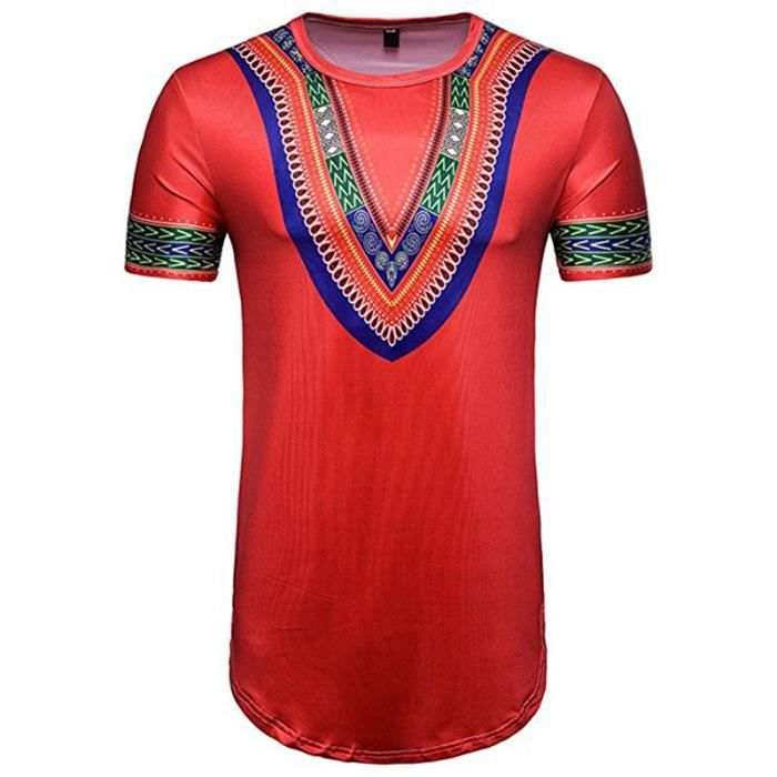 T-Shirt Homme Africain, 3D Tee Shirts Manches Courtes Polo Shirt ... fe30dcf86f9