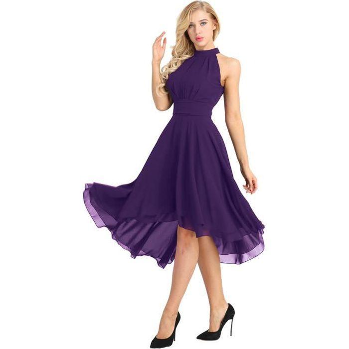 9450c6f6b04 Robe de soirée Femme Adulte Robe de ceremonie Mariage Longue Dress Sans  manches Mousseline