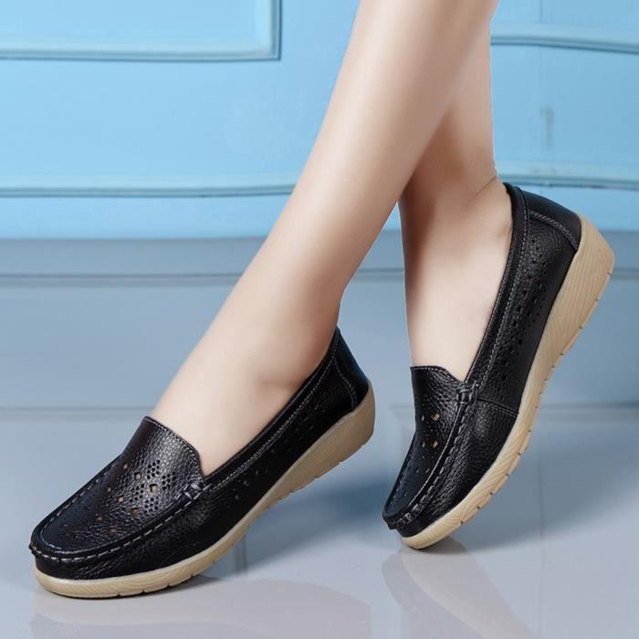Bateau Bas Les Casual Sur y 1308 Confortable Wedges Noir Chaussures Slip Femmes Pois Extrieur Souple wP8H4qxtU