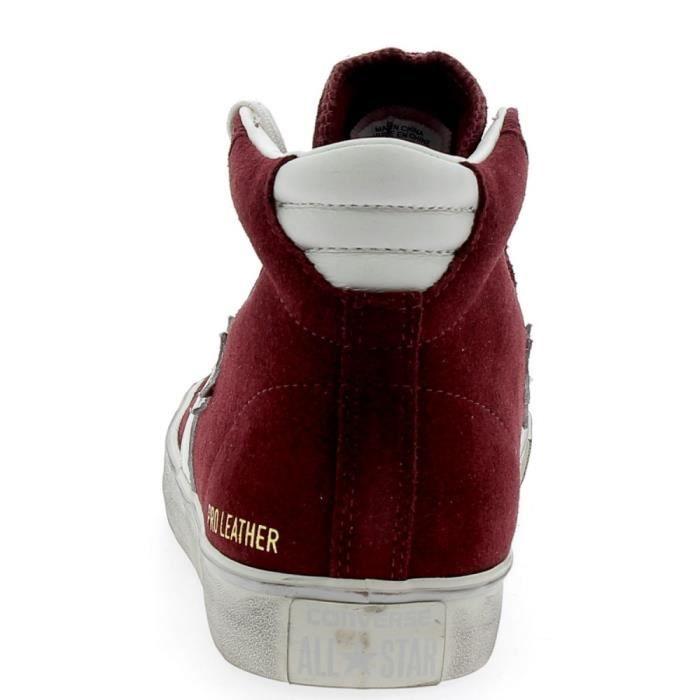 Converse - Converse Pro Leather Distressed Chaussures de Sport Homme Bordeaux