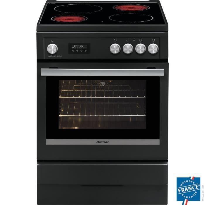 BRANDT BCV6650A Cuisinière table de cuisson vitrocéramique 4 zones-Four électrique Pyrolyse 56 L-A-L