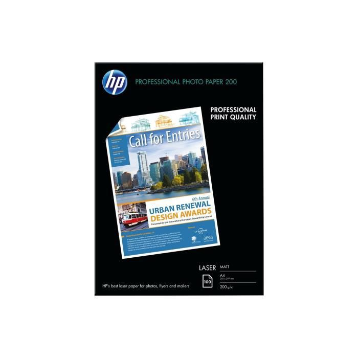 HP Papier Photo Mat Laser - 100 feuilles - A4 - 210 x 297 mm