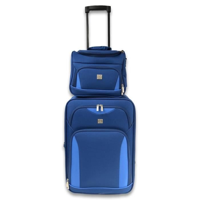 KINSTON Set de Valise cabine et Vanity assorti Milos - Avec poignée Trolley - Bleu