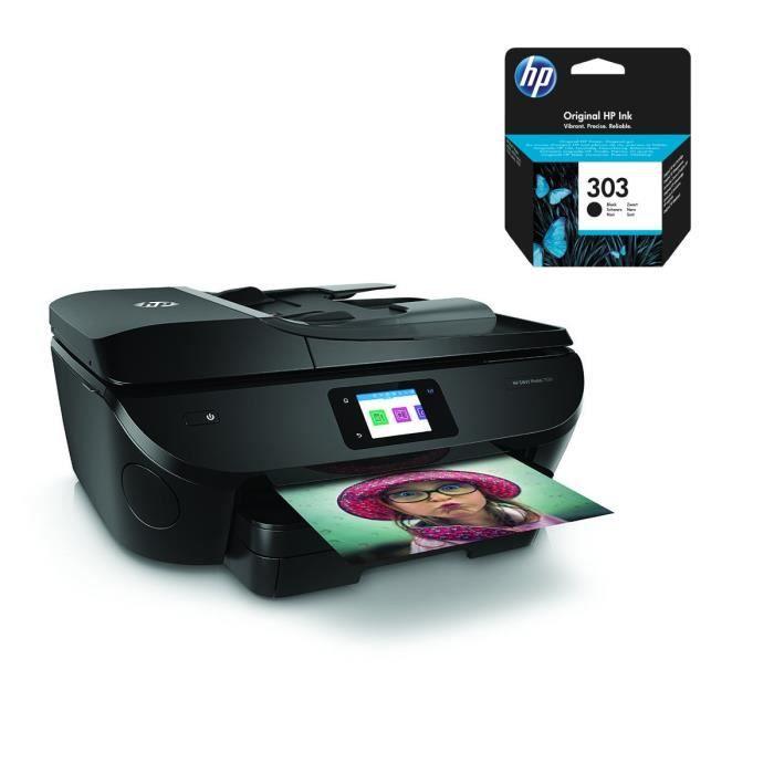 HP Imprimante tout en un Envy Photo 7830 + cartouche d'encre 303 authentique noire