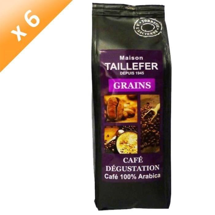 MAISON TAILLEFER Lot de 6 Cafés Dégustation Grains Sachet de 250g