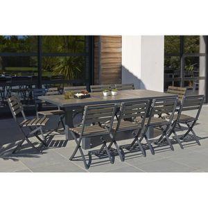 Ensemble table extensible de jardin 160 - 220 cm + 6 chaises ...