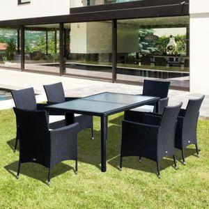 Ensemble salon de jardin 6 fauteuils avec coussins assise + ...