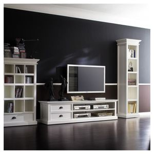 MEUBLE TV MURAL Meuble TV bois blanc LEIRJFORD 180cm