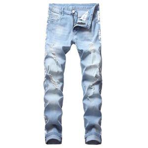 JEANS Stretch Jeans Déchirés Homme Fashion Slim Droit Ef