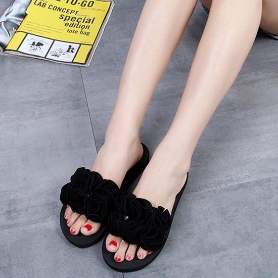 Fleur Flip Plage Femme Intérieur D'été D'intérieur Chaussures noir Sandales flops Pantoufles MSzLpqVGU