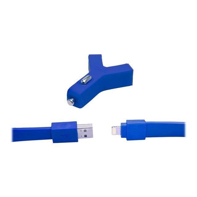TYLT Chargeur de voiture double prise USB 2.1A + câble plat connexion USB et sortie - pour appareils Apple - 60cm - Bleu