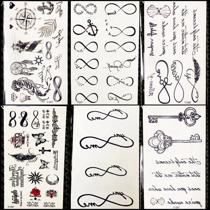 6 Morceaux Petit Noir Infini Tatouage Temporaire Femmes Doigt